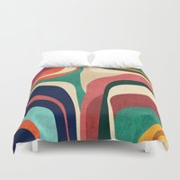 tote Duvet Covers featuring Impossible contour map by Picomodi