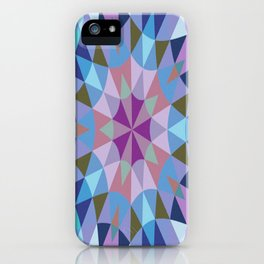Retro Geometry Mandala Lavender Blue iPhone Case