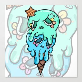 Double Scoop Sugar Skull Ice cream, green and blue Canvas Print