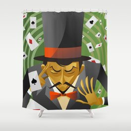 top hat magician poker cards magic trick Shower Curtain