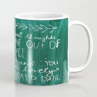 roald dahl Mugs featuring Good Thoughts by rags