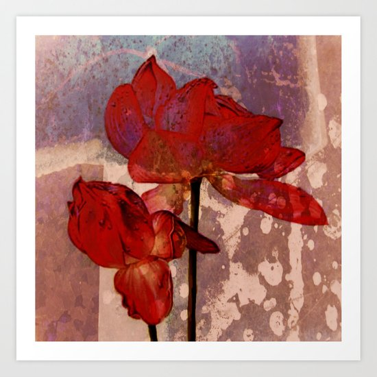 red lotus on textures Art Print