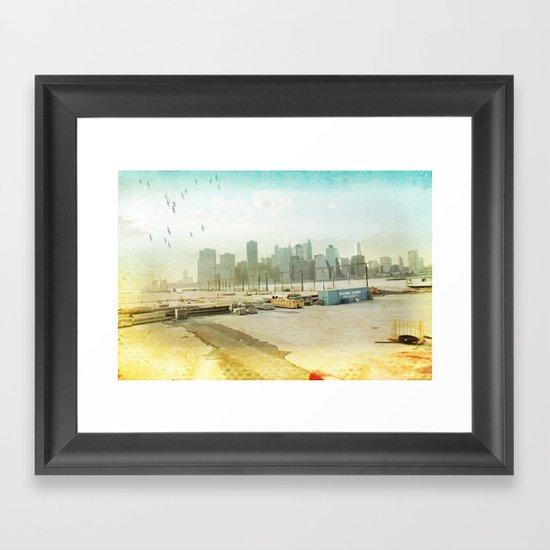 view from the docks _ new york city Framed Art Print