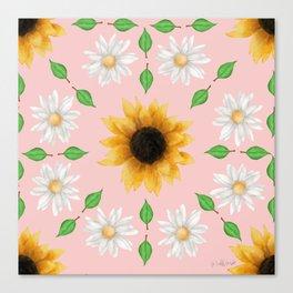 Flower Mandala - Rose Quartz Canvas Print