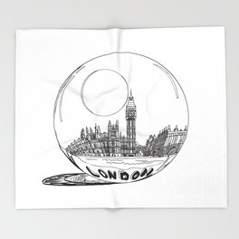 London city in a glass ball . Home Decor, Art prints Throw Blanket