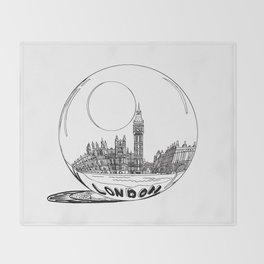 London city in a glass ball . Home Decor, Art prints Throw Blanket