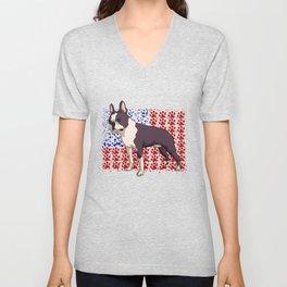 Patriotic Boston Terrier Gift Boston Terrier American Flag Design Unisex V-Neck