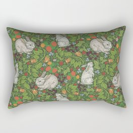 Rabbits with berries and bluebells on green background Rectangular Pillow
