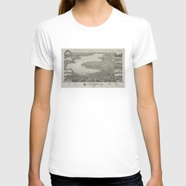 Vintage Pictorial Map of Lake Geneva WI (1882) T-shirt