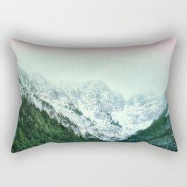 Snowy Winter Mountain Landscape with Alpenglow Rectangular Pillow