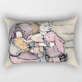 lily, the bunnies and baby watch tv Rectangular Pillow
