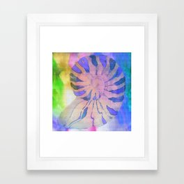 NAUTILUS SEA SHELL BLUE AND PURPLE IMPRESSIONS Framed Art Print