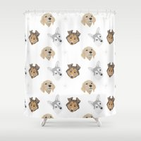 german shepherd Shower Curtains featuring Lady German Shepherd by Shanshan