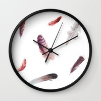 feathers Wall Clocks featuring feathers by Okti