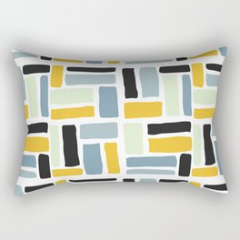 Abstract yellow black geometric modern brushstrokes  pattern Rectangular Pillow