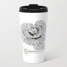 Silver Rose Ring Metal Travel Mug
