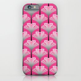 Art Deco Lily, Fuchsia Pink and Silver Gray iPhone Case