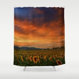 Sunset and Sunflowers Shower Curtain
