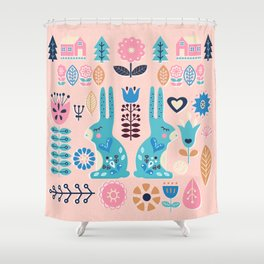 Soft And Sweet Scandinavian Bunny Rabbit Folk Art Shower Curtain