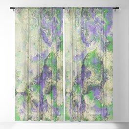 Pansies in Cream Sheer Curtain