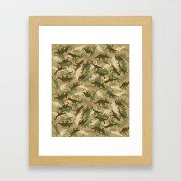 Camouflage Dinosaur Print Olive Green Khaki Tan Framed Art Print
