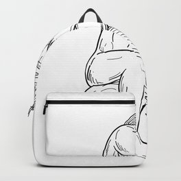 Man With Beard Sitting Thinking Drawing Black and White Backpack