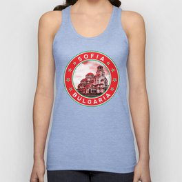 Sofia, Bulgaria, Alexander Nevsky Cathedral, circle, red Unisex Tank Top