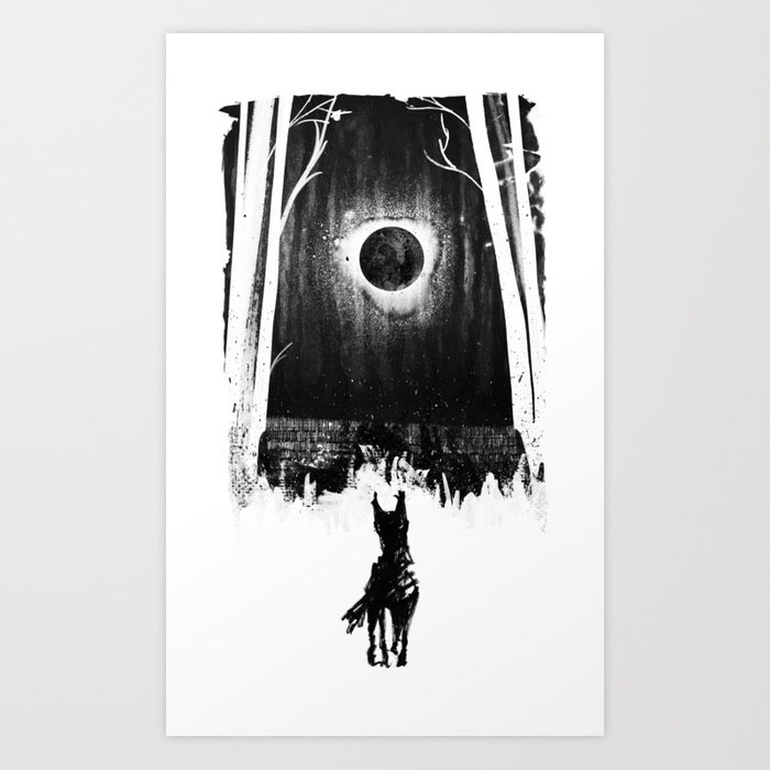 Barghest black dog of yorkshire dales art print