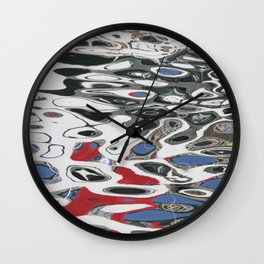Blue and Red Water Swirls Wall Clock