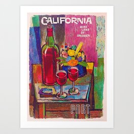 1962 Vintage California Wine Land of American Advertisement Print Art Print