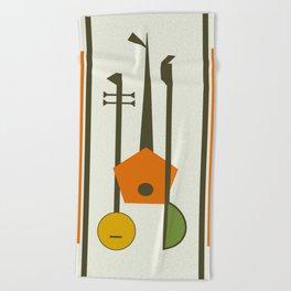 Mid-Century Modern Art Musical Strings Beach Towel