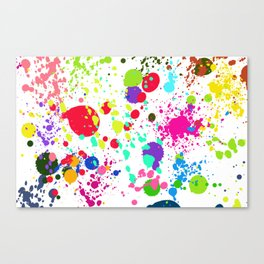 Paint Splatters on White Background Canvas Print