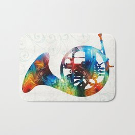 Colorful French Horn - Color Fusion By Sharon Cummings Bath Mat