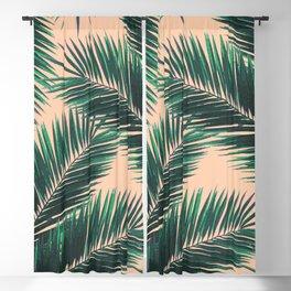 Tropical Palm Leaf Pattern 4 - Tropical Wall Art - Summer Vibes - Modern, Minimal - Green, Peach Blackout Curtain