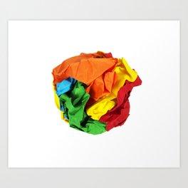 Crumpled paper ball Art Print