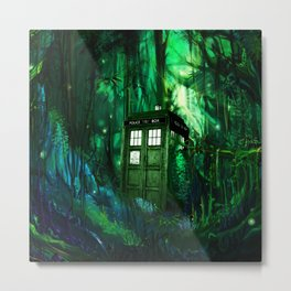 Tardis in the forest 2 Metal Print