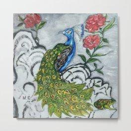 Peacock and Frog Metal Print