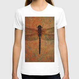 Dragonfly On Orange and Green Background T-shirt