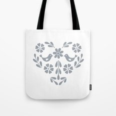 Silver heart shaped floral and birds Tote Bag