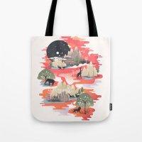 dreams Tote Bags featuring Landscape of Dreams by dan elijah g. fajardo