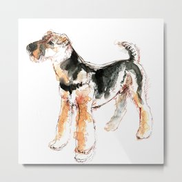 Airedale Terrier Watercolor #2 Metal Print