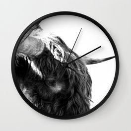 Black and White Horns Wall Clock