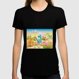 Dinosaurs Family with background T-shirt