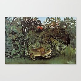 THE HUNGRY LION ATTACKING AN ANTELOPE - ROUSSEAU Canvas Print