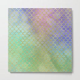 Sea-Green Mermaid Scales Pattern Metal Print