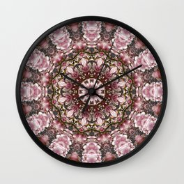 Pink spring blossoms, Floral mandala-style Wall Clock