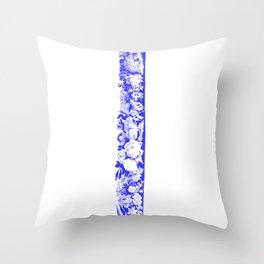 Decorative Floral Frame 1, Blue Throw Pillow