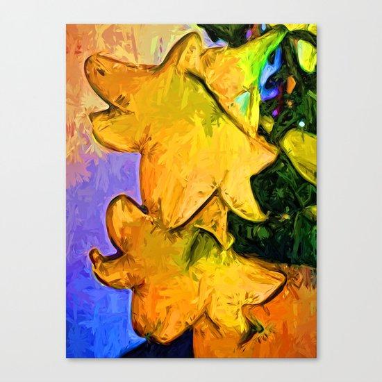 Gold Lilies in a Terracotta Pot Canvas Print