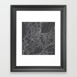 Belfast Map, Northern Ireland - Gray Framed Art Print