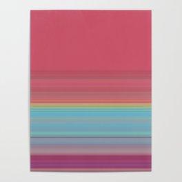 Dark Pink Blue Stripe Design Poster